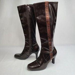 Midtown Brown Vegan Leather Knee High Boots